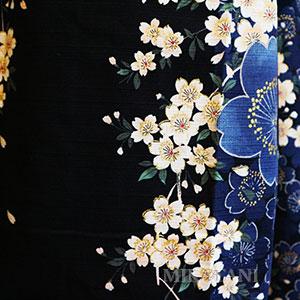 Kimono long bleu fleurs motifs
