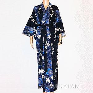 Kimono long bleu fleurs