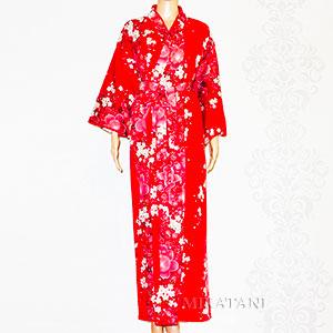 Kimono femme long rouge motifs Fleur de cerisier