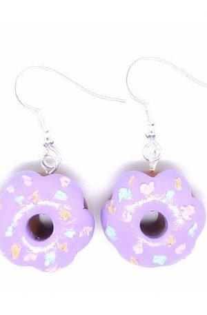 Boucles d'oreilles donuts mauves