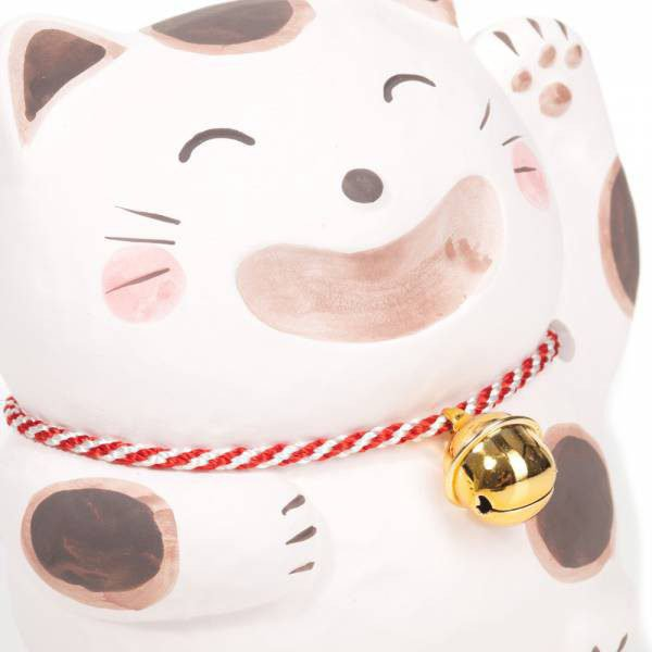 Chat porte bonheur japonais blanc grand sourire