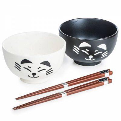 Ensemble de bols japonais chat noir et blanc