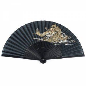 Eventail japonais noir avec Dragon