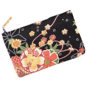 Pochette Japonaise noire à fleurs