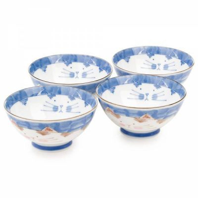 Ensemble de bol de riz japonais chat bleu