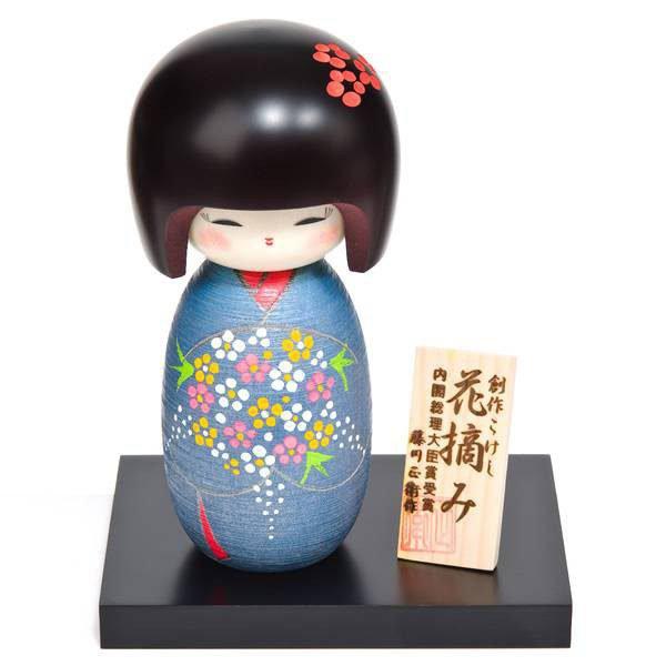 Grande poupée japonaise Kokeshi bouquet de fleurs