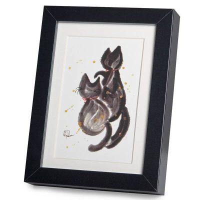 Les chats amoureurs : illustration Japonaise A5 encadrée