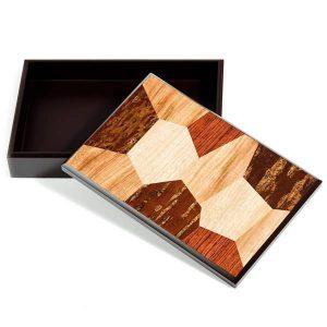 Boîte artisanale de papeterie japonaise en bois de cerisier