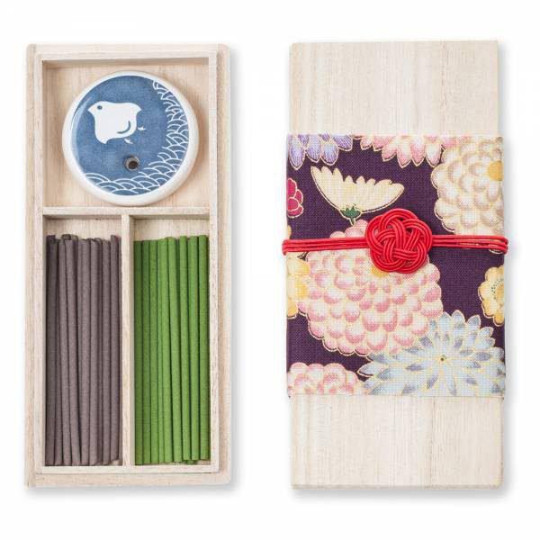 Ensemble encens japonais chrysanthème + support