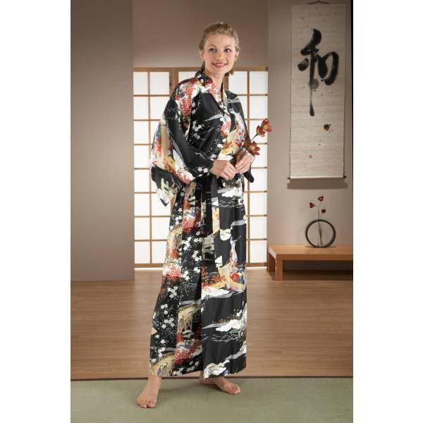 Kimono japonais noir long Geisha