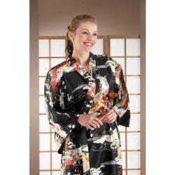 Kimono japonais noir long Yukata
