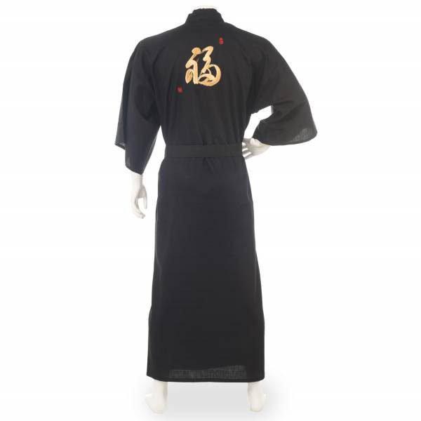 Kimono japonais homme long noir