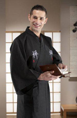 Kimono Japonais Zen homme long noir