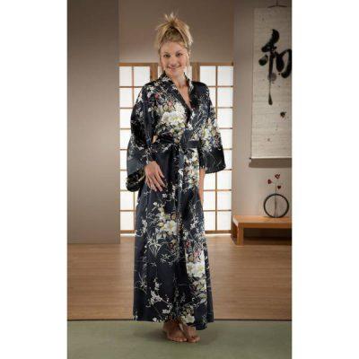 Kimono japonais femme en soie long noir motif floral