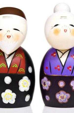 Poupées Kokeshi Vivons longtemps heureux ensemble