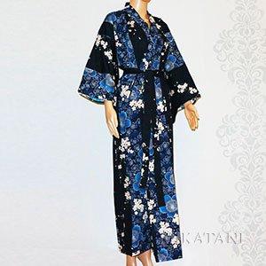 Kimono long bleu à fleurs