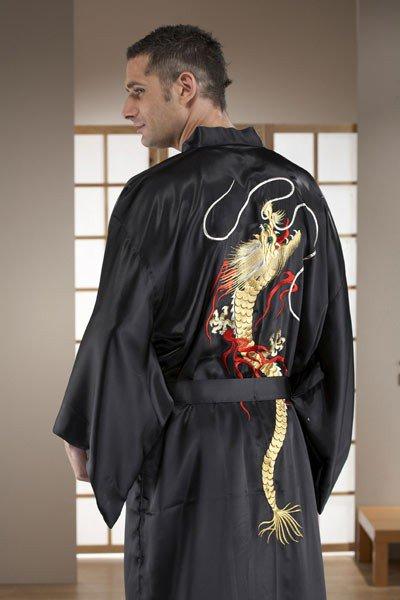 Kimono Yukata Long Noir pour homme Dragon