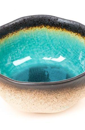 Bol japonais Turquoise à Vernis Crépi