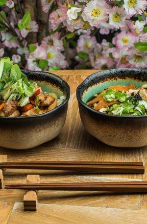 Set de bol japonais Turquoise à Vernis Crépi