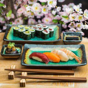 Set de plats de couleur Turquoise pour Sushi