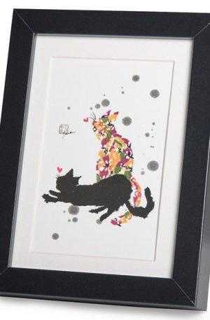 Gravure japonaise de deux chats qui jouent