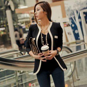 Veste élégante noire col en V