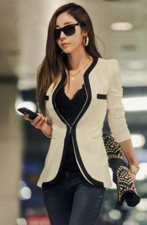 Veste élégante blanche col en V