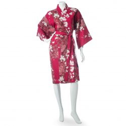 Kimono Yukata court rouge motifs fleurs de cerisiers