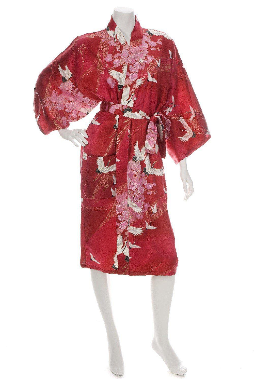 kimono japonais court soie rouge paix et amour. Black Bedroom Furniture Sets. Home Design Ideas