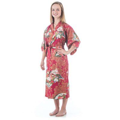 Kimono japonais rouge pour fille de 10 à 11 ans