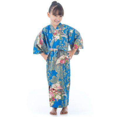 Kimono japonais bleu pour fille de 6 à 7 ans