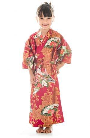 Kimono japonais de 6 à 7 ans rouge pour fille