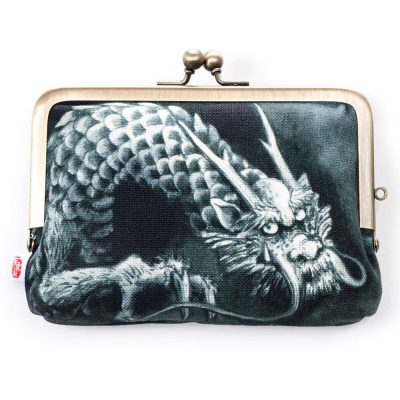 Porte-monnaie japonais dragon noir
