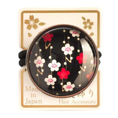Elastique à cheveux japonais noir à fleurs