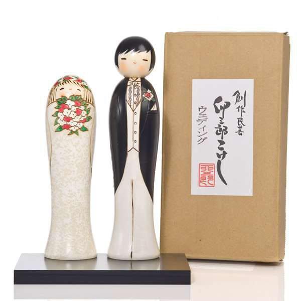 Poupées Kokeshi couple jeune mariés