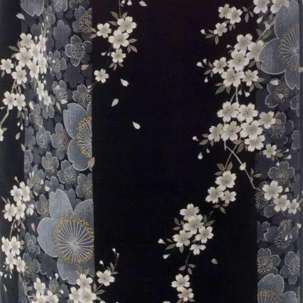 Kimono grande taille long noir fleur de cerisier