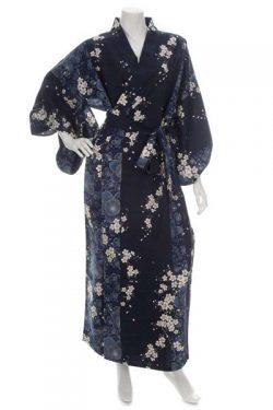 Kimono grande taille long bleu marine fleur de cerisier