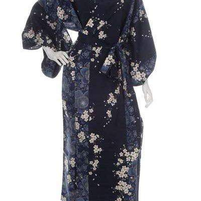 Kimono grande taille long bleau marine fleur de cerisier