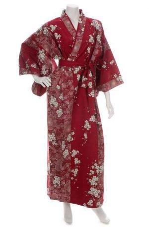 Kimono Yukata grande taille rouge fleur de cerisier