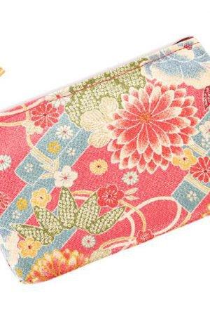 Pochette japonaise à fleurs roses