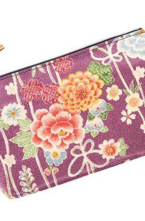 Pochette japonaise à fleurs violettes