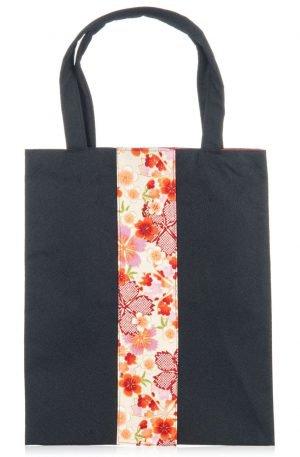 Sac à bandoulières japonais à fleurs noires et roses