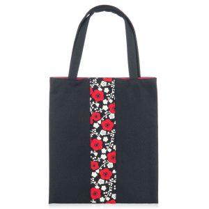 Sac à bandoulières japonais à fleurs noires et rouges