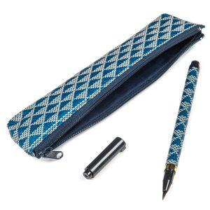 Stylo pinceau et étui de calligraphie japonaise bleus