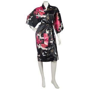 Kimono femme court noir motifs grues et fleurs