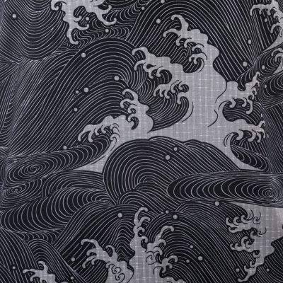 kimono japonais long noir homme vague