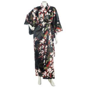 Kimono japonais noir polyester Fleurs de cerisier