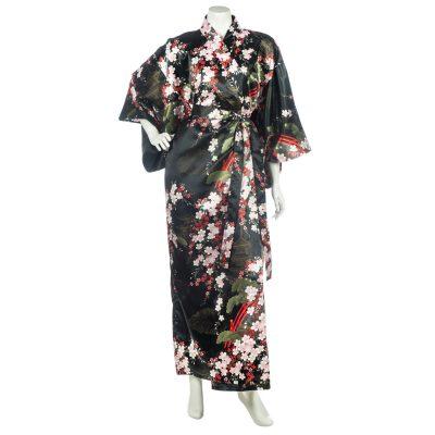 kimono japonais noir fleurs de cerisier