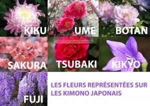 fleurs kimono japonais